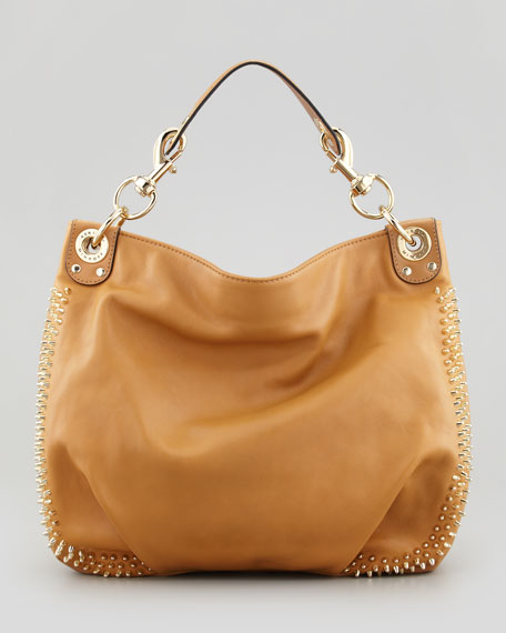 Luscious Mini Studded Hobo Bag, Tawny