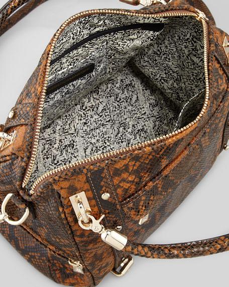 Cupid Snake-Print Satchel Bag, Blonde