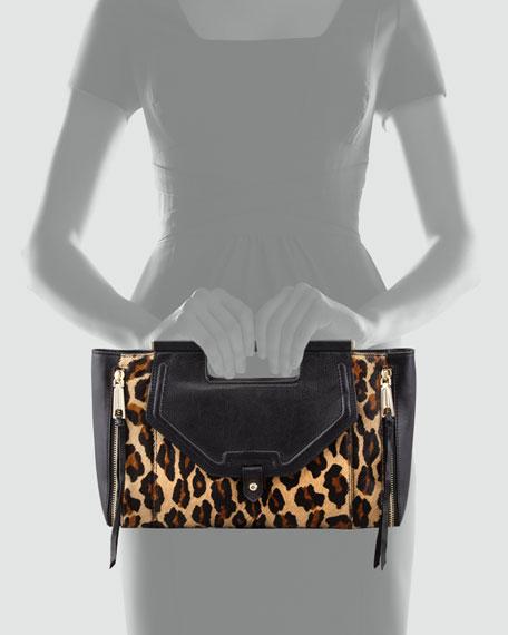 Kieran Leopard-Print Calf Hair Clutch Bag