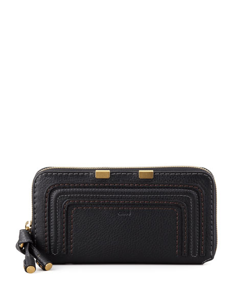 Chloe Marcie Continental Zip Wallet, Black