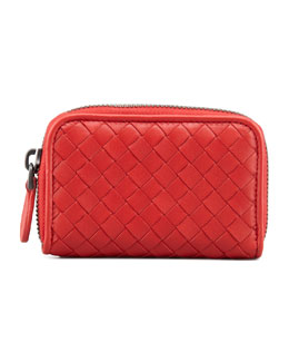 Bottega Veneta Mini Zip-Around Wallet, Scarlet