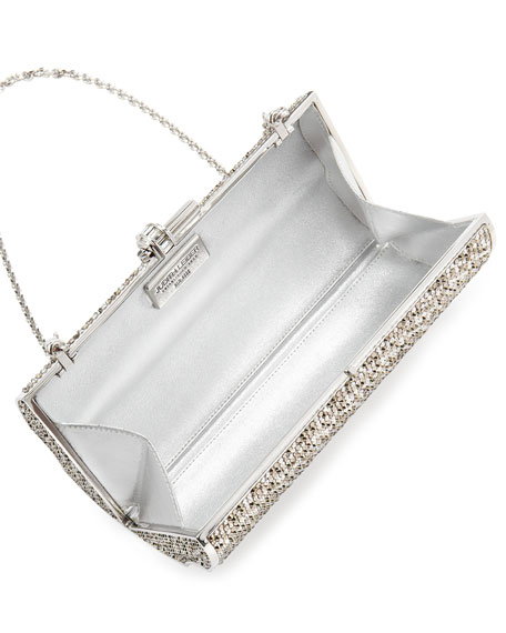 Pave Violin Box Clutch, Silver