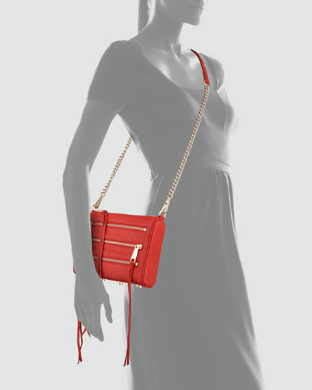 Five-Zip Mini Crossbody Bag, Red