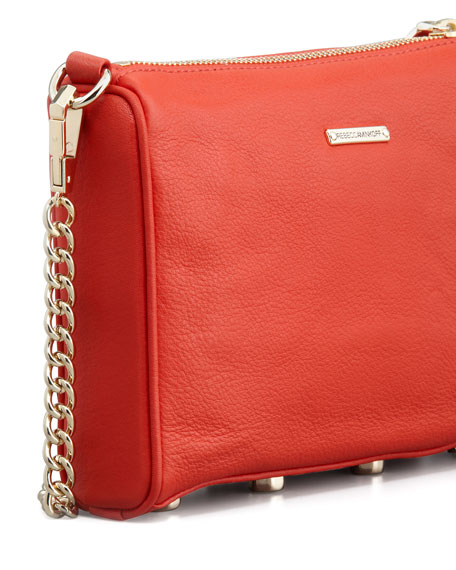 Five-Zip Mini Crossbody Bag, Red