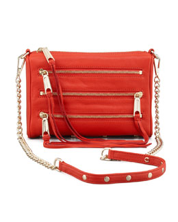 Rebecca Minkoff Five-Zip Mini Crossbody Bag, Red