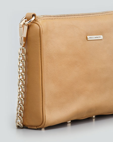 Five-Zip Mini Crossbody Bag, Tawny