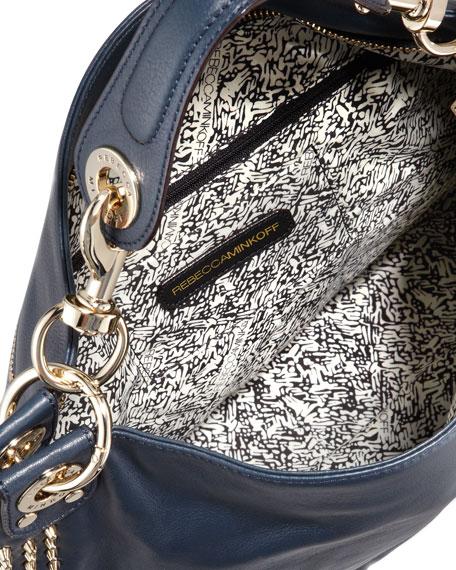 Luscious Mini Studded Hobo Bag, Navy