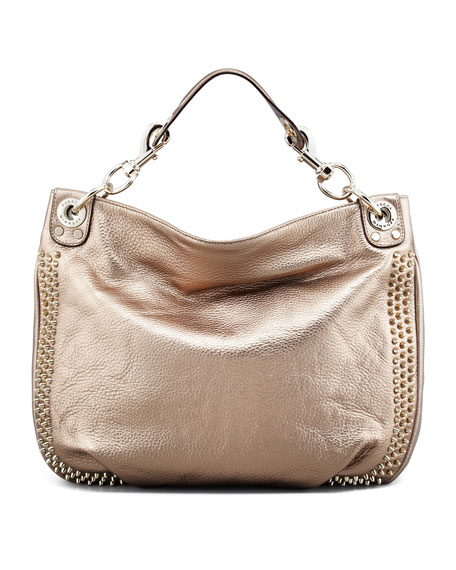Luscious Mini Studded Hobo Bag, Bronze