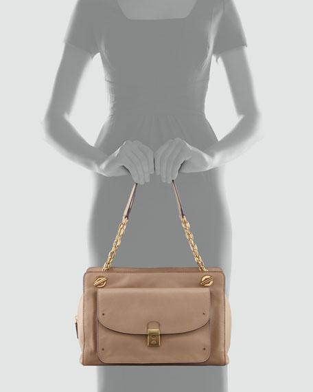 Priscilla Leather Shoulder Bag, Beige