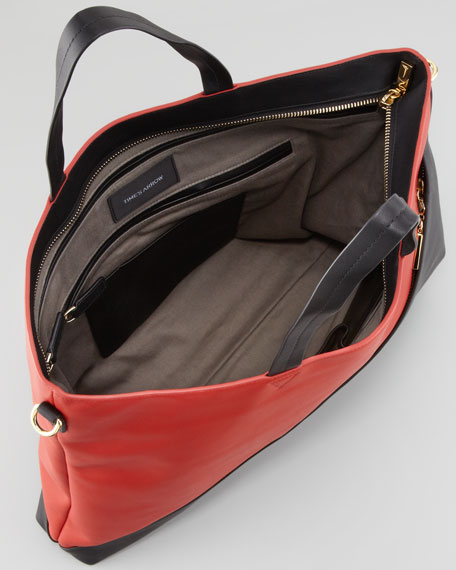 Infinite Colorblock Satchel Tote Bag, Paprika/Black