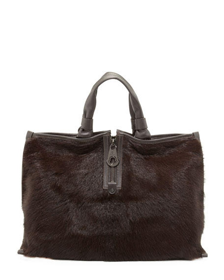 Amelie Calf Hair Tote Bag, Brown