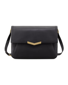 Time's Arrow Affine Large Calfskin Shoulder Bag, Black/Gold
