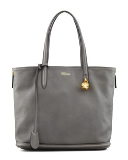 Alexander McQueen New Padlock Small Shopper Bag, Dark Gray