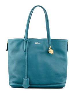 Alexander McQueen New Padlock Small Shopper Bag, Blue