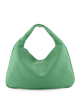 Bottega Veneta Large Woven Hobo Bag, Mint Green