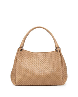 Bottega Veneta Double-Strap Woven Leather Tote Bag, Taupe