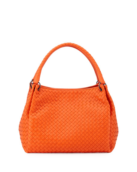 Double Strap Woven Tote Bag, Tangerine