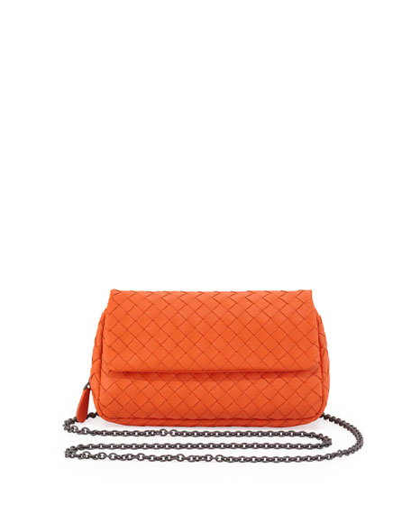 Woven Mini Crossbody Bag, Tangerine Orange