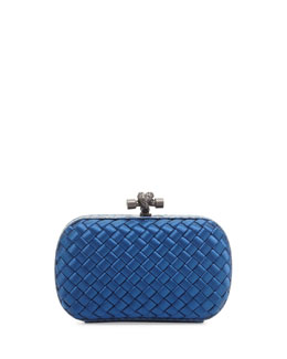 Bottega Veneta Woven Satin Knot Minaudiere, Electric Royal
