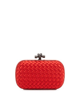 Bottega Veneta Woven Satin Knot Minaudiere, Bright Red