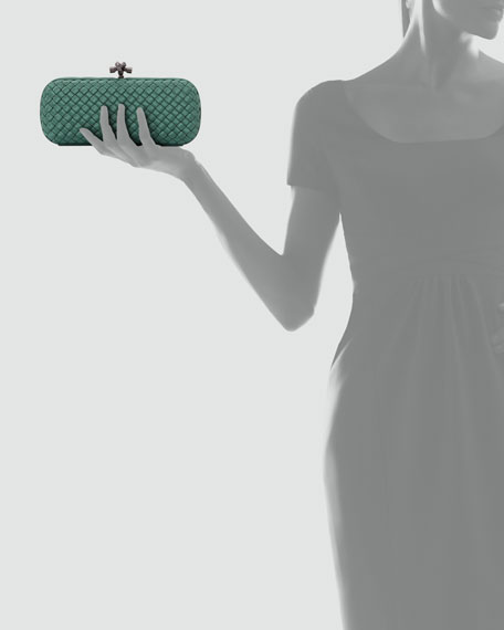 Woven Faille Large Knot Clutch Bag, Jade Green