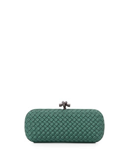 Bottega Veneta Woven Faille Large Knot Clutch Bag, Jade Green