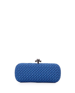 Bottega Veneta Woven Faille Large Knot Clutch Bag, Electrique Royal