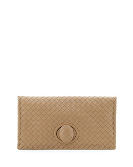Bottega Veneta Veneta Turn-Lock Fold-Over Clutch, Walnut Taupe