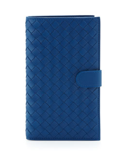 Bottega Veneta Woven Snap-Tab Continental Wallet, Electriq Royal