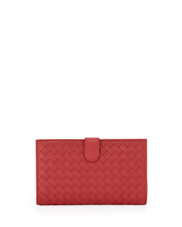 Bottega Veneta Woven Continental Wallet, Dark Red