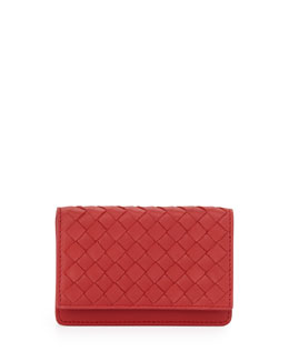 Bottega Veneta 5/6 Credit Card Flip Case, Fraise Dark Red