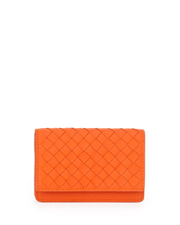 Bottega Veneta 5/6 Credit Card Flip Case, Tangerine Orange