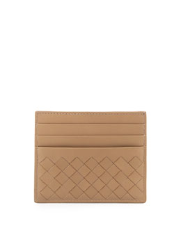 Bottega Veneta Woven Credit Card Sleeve, Walnut