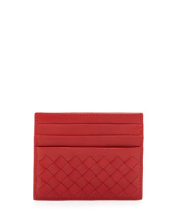 Bottega Veneta Woven Credit Card Sleeve, New Bright Red