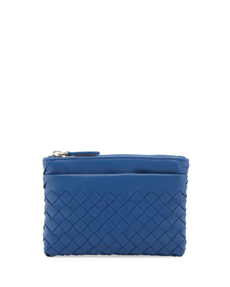 Zip-Top Woven Leather Key Pouch, Electriq Royal
