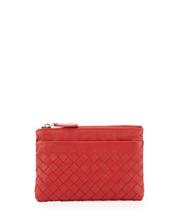 Bottega Veneta Zip-Top Woven Leather Key Pouch, New Bright Red