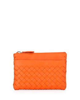 Bottega Veneta Zip-Top Woven Leather Key Pouch, Tangerine Orange