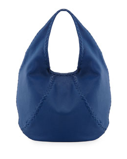 Bottega Veneta Medium Woven-Detail Cervo Hobo Bag, Electrique Blue