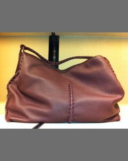 Bottega Veneta XL Cervo Shoulder Bag, Espresso Dark Brown