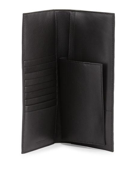 Woven Leather Bi-Fold Travel Wallet, Nero
