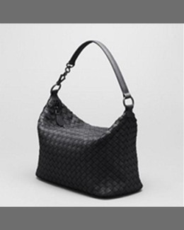 Bottega Veneta Small East-West Zip Hobo Bag, Black