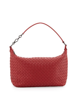 Bottega Veneta Small East-West Zip Hobo, Dark Red