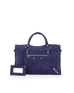 Balenciaga Giant 12 Golden Suede City Bag, Blue