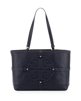 Tory Burch Holly East-West Leather Tote Bag, Navy