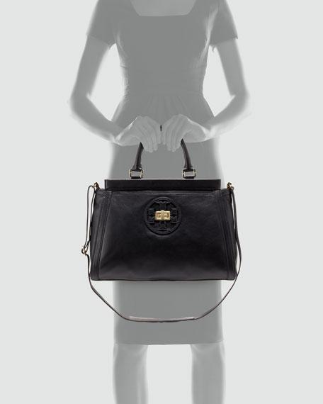 Gloria Leather Logo Satchel Bag, Black