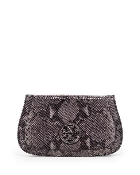 Thea Snake-Print Logo Clutch Bag, Opal Gray