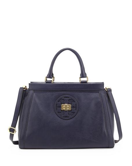 Gloria Leather Logo Satchel Bag, Cape Blue