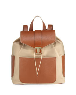 Tory Burch Penn Nylon & Leather Backpack, Camel