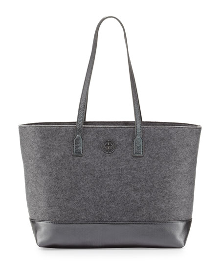 Emmy Small Mixed Media Tote Bag, Charcoal/Gunmetal