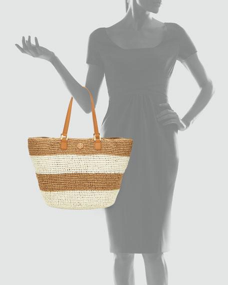 Raffia Striped Tote Bag, Camel/Ivory